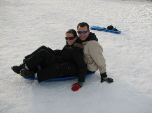 Steve and Betsy sledding
